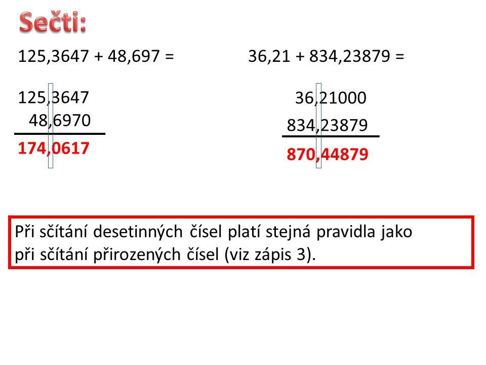 125,3647 + 48,697 = 125,3647 48,6970 174,0617 36,21 + 834,23879 = 36,21000 834,23879 870,44879 Při sčítání desetinných čísel platí stejná pravidla jako při sčítání přirozených čísel (viz zápis 3).