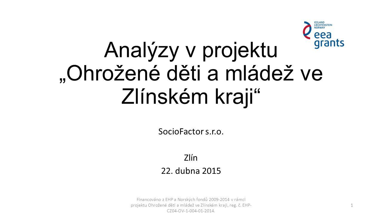 """Analýzy v projektu """"Ohrožené děti a mládež ve Zlínském kraji"""" SocioFactor s.r.o. Zlín 22. dubna 2015 Financováno z EHP a Norských fondů 2009-2014 v rá"""