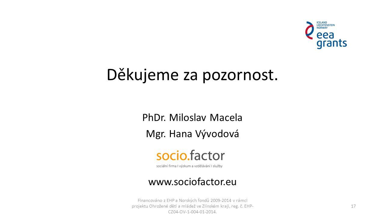 Děkujeme za pozornost. PhDr. Miloslav Macela Mgr. Hana Vývodová www.sociofactor.eu Financováno z EHP a Norských fondů 2009-2014 v rámci projektu Ohrož