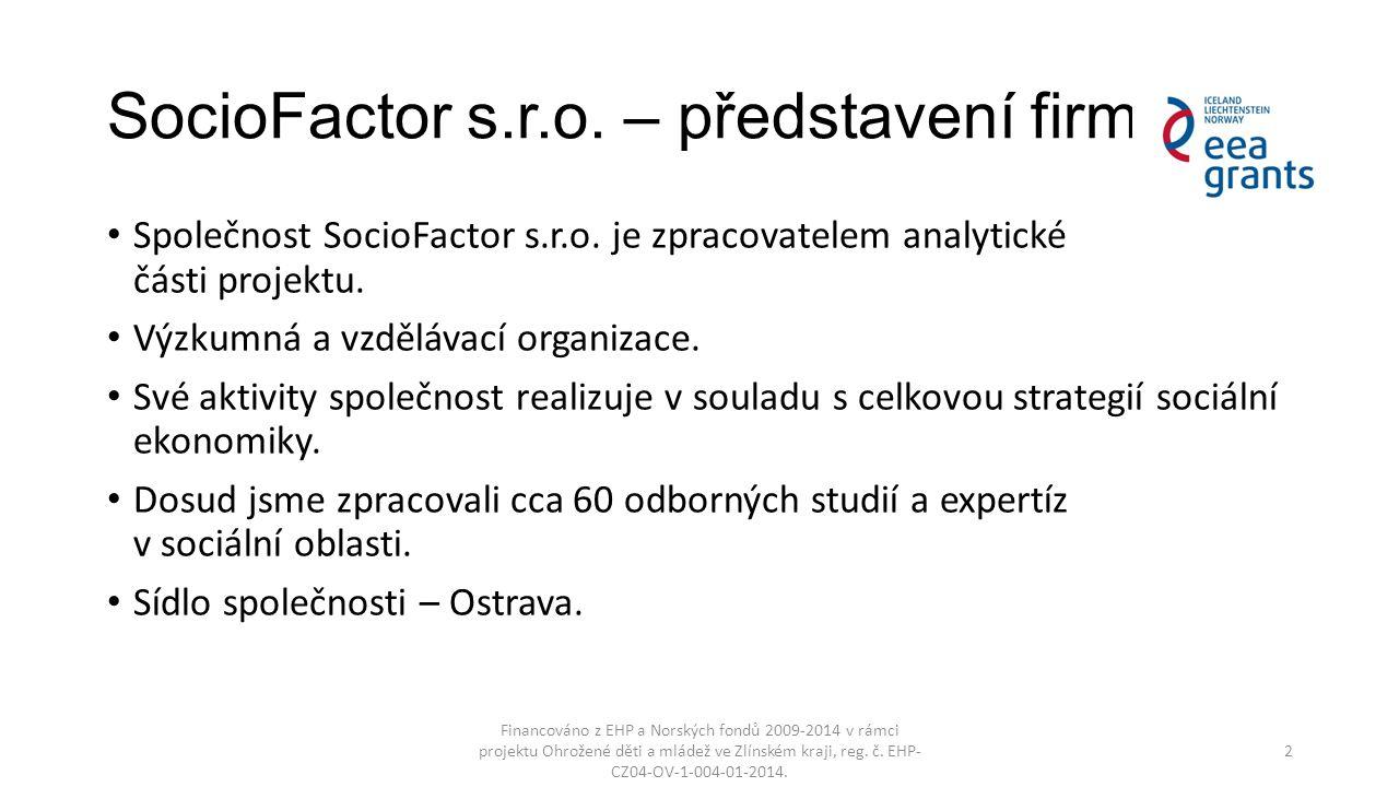 SocioFactor s.r.o. – představení firmy Společnost SocioFactor s.r.o. je zpracovatelem analytické části projektu. Výzkumná a vzdělávací organizace. Své