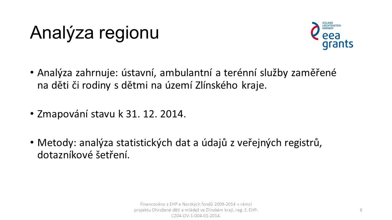 Analýza regionu Analýza zahrnuje: ústavní, ambulantní a terénní služby zaměřené na děti či rodiny s dětmi na území Zlínského kraje. Zmapování stavu k