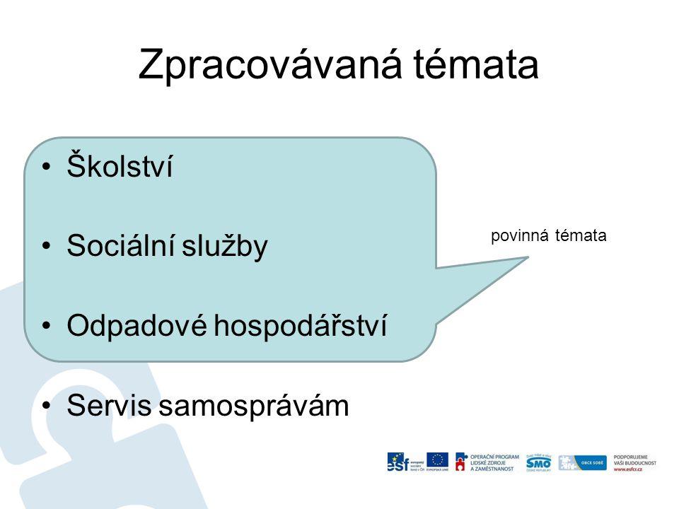 Zpracovávaná témata Školství Sociální služby Odpadové hospodářství Servis samosprávám povinná témata