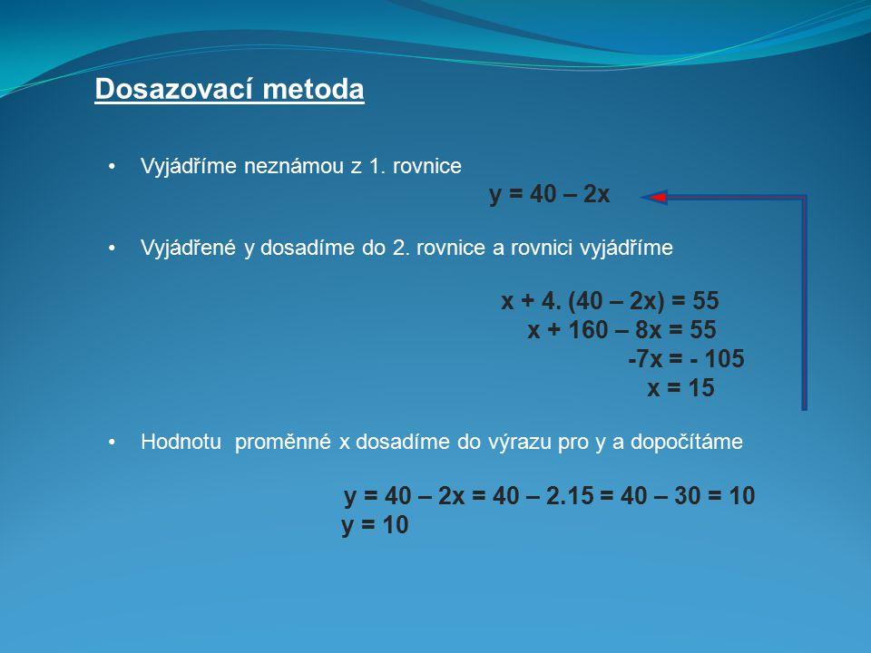 Dosazovací metoda Vyjádříme neznámou z 1. rovnice y = 40 – 2x Vyjádřené y dosadíme do 2. rovnice a rovnici vyjádříme x + 4. (40 – 2x) = 55 x + 160 – 8