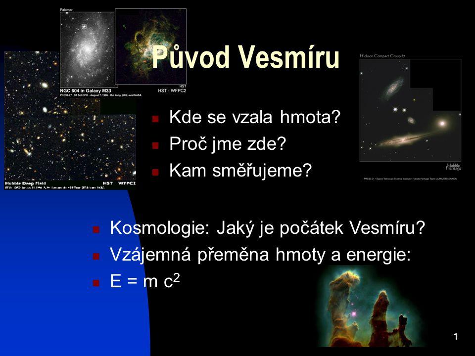 1 Původ Vesmíru Kde se vzala hmota.Proč jme zde. Kam směřujeme.
