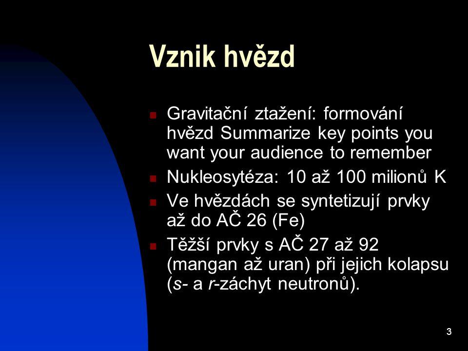 3 Vznik hvězd Gravitační ztažení: formování hvězd Summarize key points you want your audience to remember Nukleosytéza: 10 až 100 milionů K Ve hvězdách se syntetizují prvky až do AČ 26 (Fe) Těžší prvky s AČ 27 až 92 (mangan až uran) při jejich kolapsu (s- a r-záchyt neutronů).