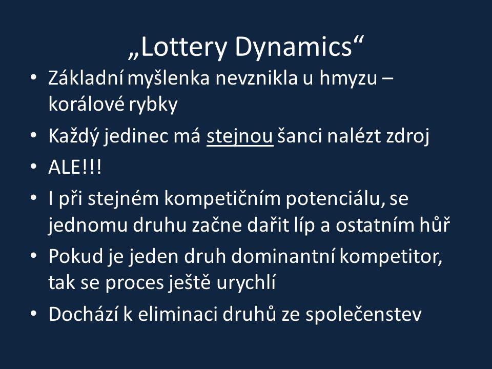 """""""Lottery Dynamics"""" Základní myšlenka nevznikla u hmyzu – korálové rybky Každý jedinec má stejnou šanci nalézt zdroj ALE!!! I při stejném kompetičním p"""