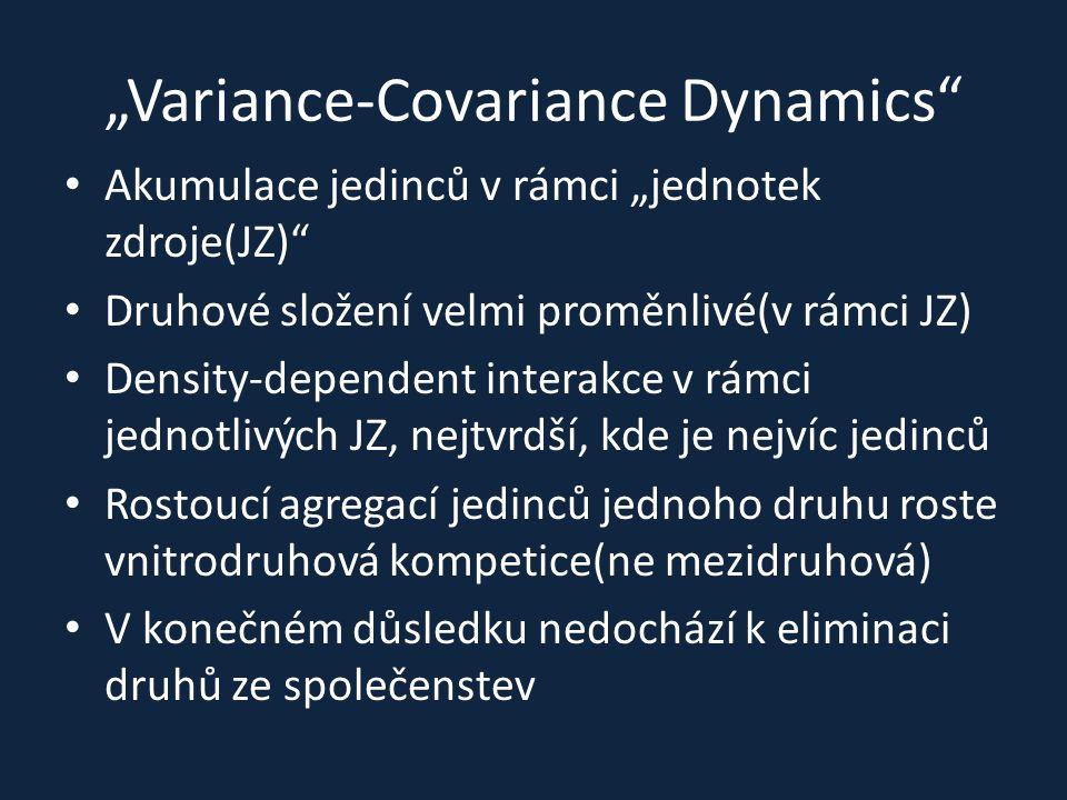 """""""Variance-Covariance Dynamics"""" Akumulace jedinců v rámci """"jednotek zdroje(JZ)"""" Druhové složení velmi proměnlivé(v rámci JZ) Density-dependent interakc"""
