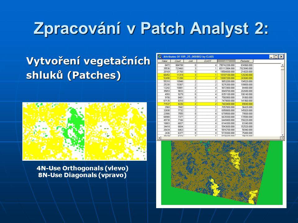 Zpracování v Patch Analyst 2: Zpracování v Patch Analyst 2: Vytvoření vegetačních shluků (Patches) 4N-Use Orthogonals (vlevo) 8N-Use Diagonals (vpravo