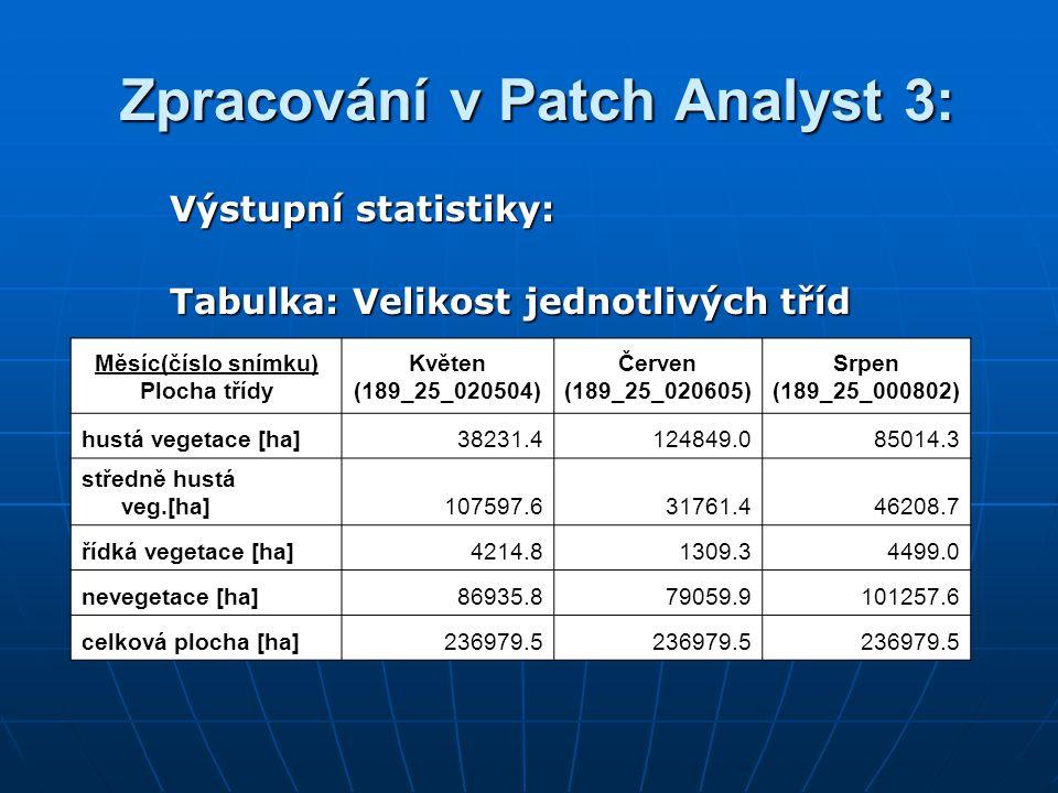 Zpracování v Patch Analyst 3: Zpracování v Patch Analyst 3: Výstupní statistiky: Tabulka: Velikost jednotlivých tříd Měsíc(číslo snímku) Plocha třídy