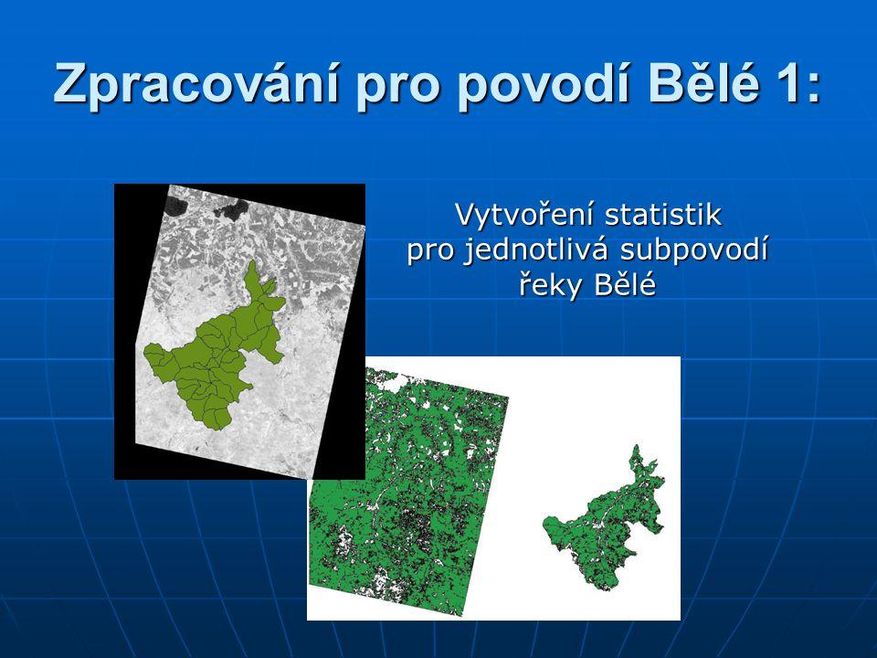Zpracování pro povodí Bělé 1: Vytvoření statistik pro jednotlivá subpovodí řeky Bělé