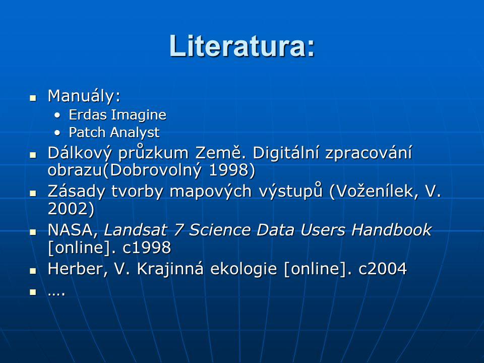 Literatura: Manuály: Manuály: Erdas ImagineErdas Imagine Patch AnalystPatch Analyst Dálkový průzkum Země. Digitální zpracování obrazu(Dobrovolný 1998)