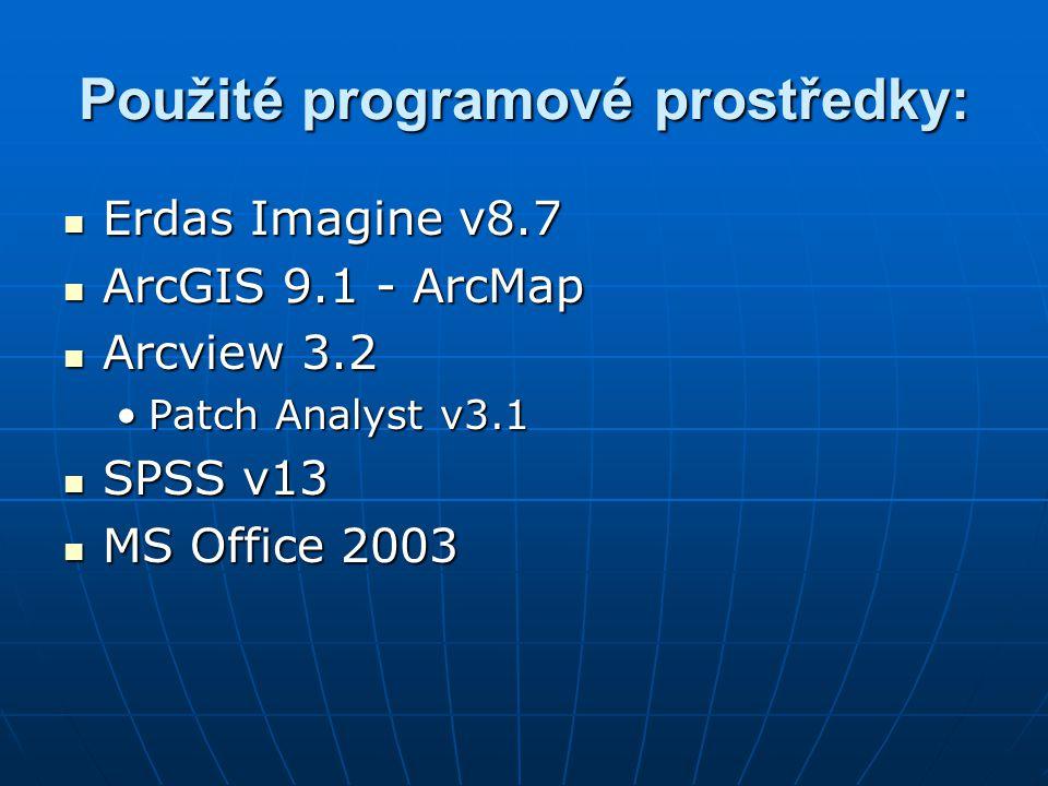 Použité programové prostředky: Erdas Imagine v8.7 Erdas Imagine v8.7 ArcGIS 9.1 - ArcMap ArcGIS 9.1 - ArcMap Arcview 3.2 Arcview 3.2 Patch Analyst v3.