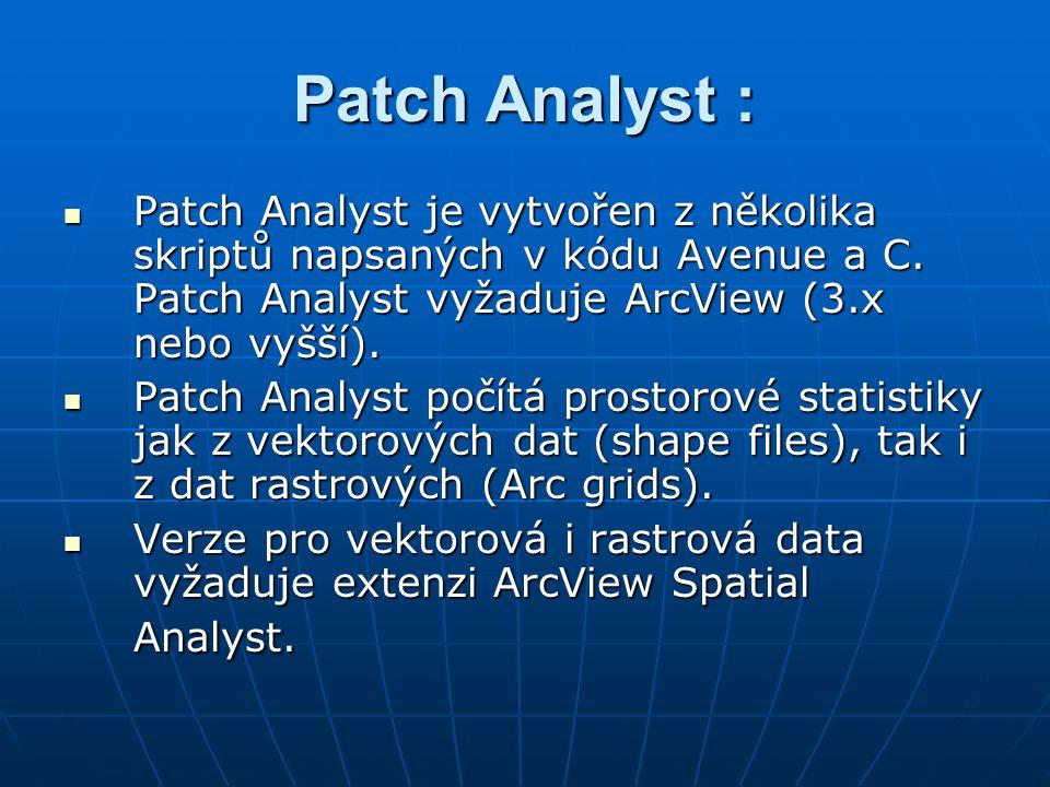 Patch Analyst : Patch Analyst je vytvořen z několika skriptů napsaných v kódu Avenue a C. Patch Analyst vyžaduje ArcView (3.x nebo vyšší). Patch Analy