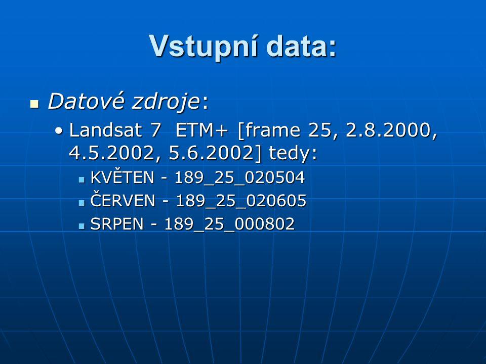 Vstupní data: Datové zdroje: Datové zdroje: Landsat 7 ETM+ [frame 25, 2.8.2000, 4.5.2002, 5.6.2002] tedy:Landsat 7 ETM+ [frame 25, 2.8.2000, 4.5.2002,