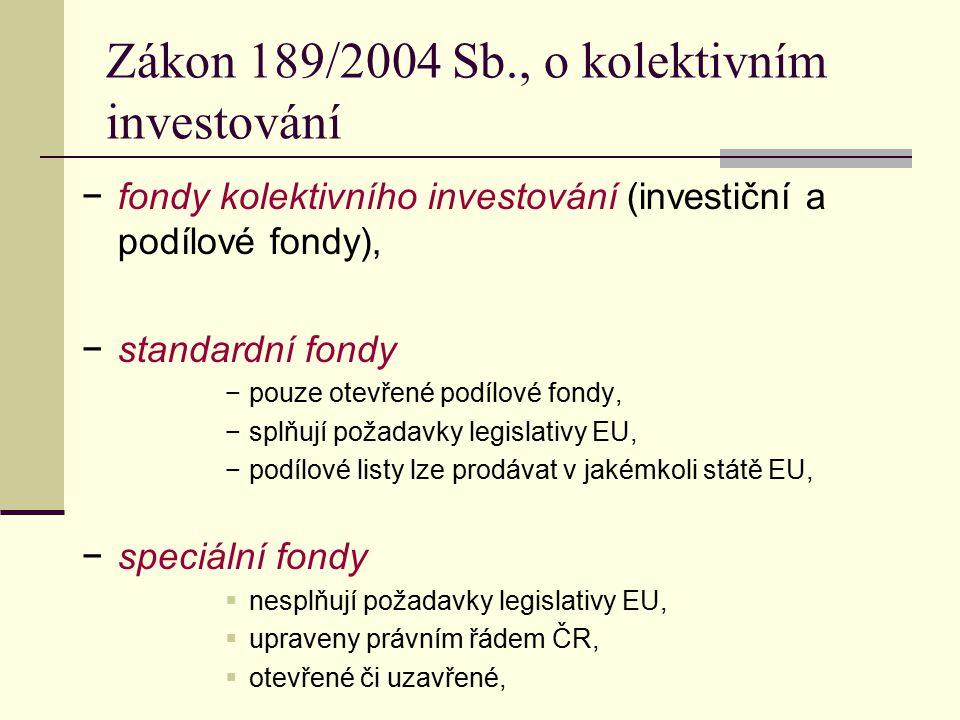 Zákon 189/2004 Sb., o kolektivním investování −fondy kolektivního investování (investiční a podílové fondy), −standardní fondy −pouze otevřené podílov
