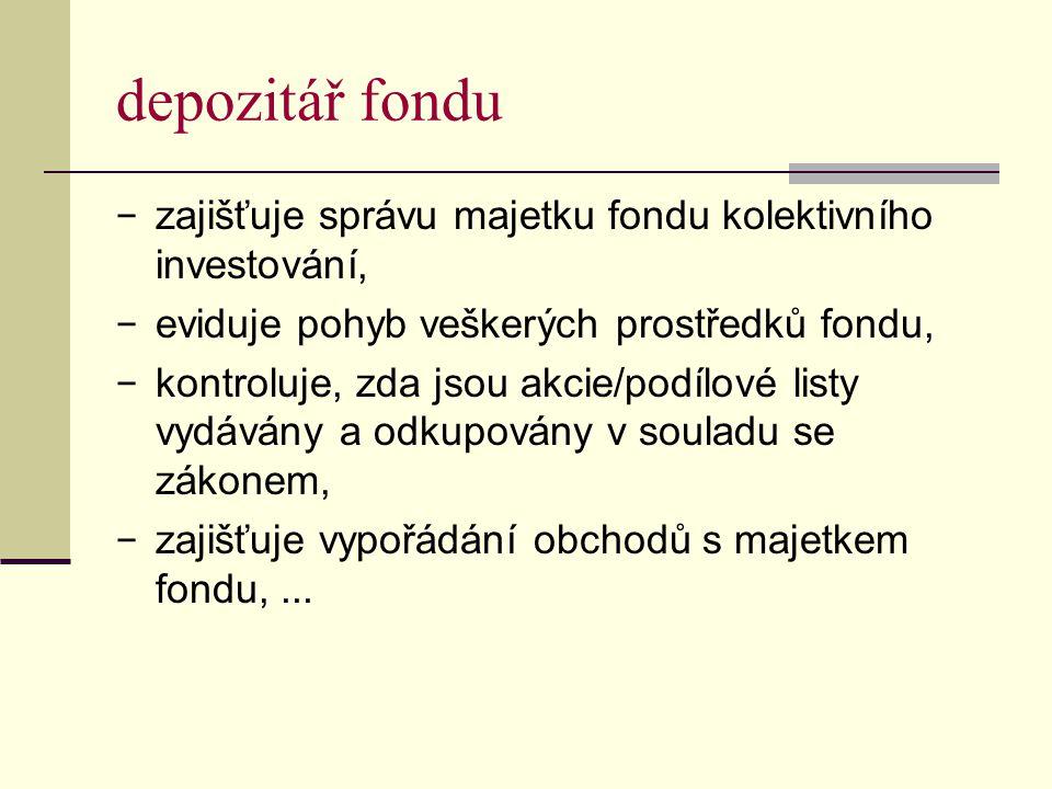 depozitář fondu − zajišťuje správu majetku fondu kolektivního investování, − eviduje pohyb veškerých prostředků fondu, − kontroluje, zda jsou akcie/po