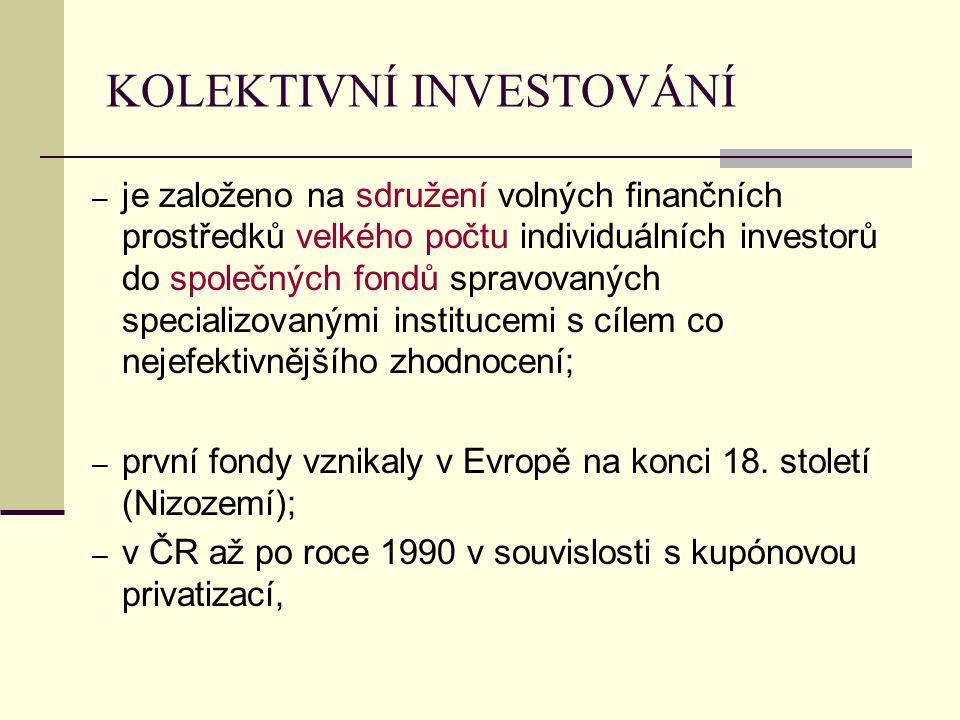 KOLEKTIVNÍ INVESTOVÁNÍ ─ je založeno na sdružení volných finančních prostředků velkého počtu individuálních investorů do společných fondů spravovaných