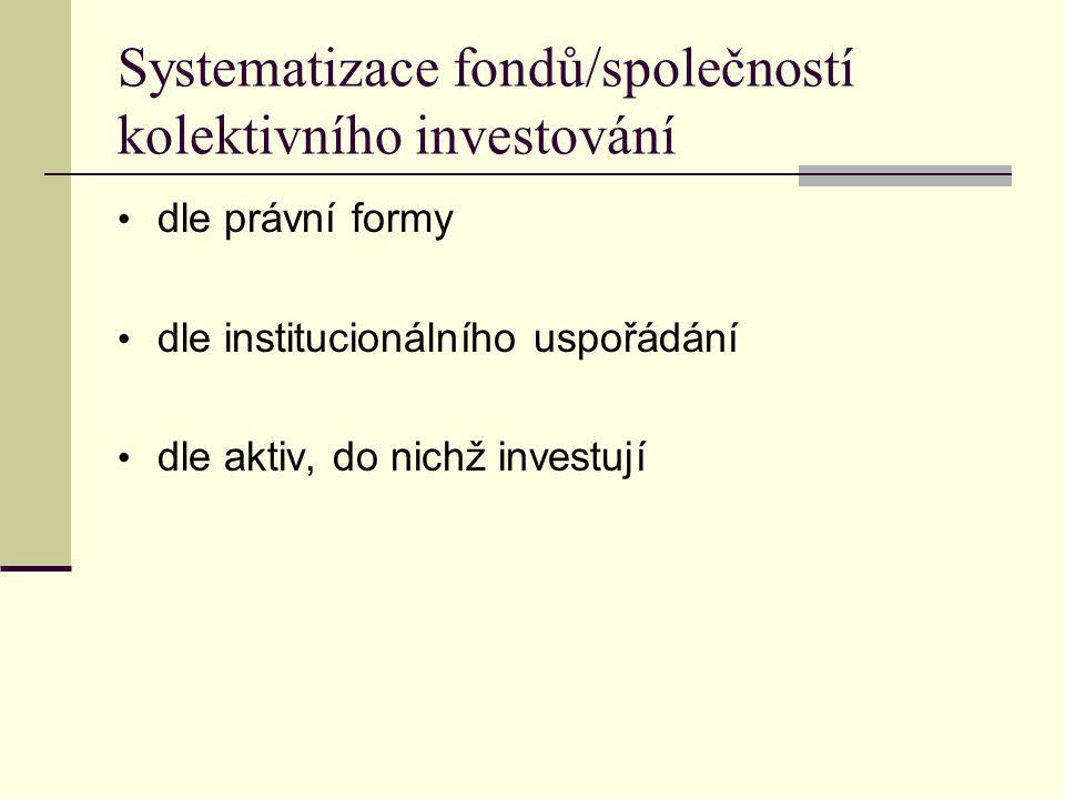Dle právní formy  investiční fond ─ fond má právní formu A.S., ─ peněžní prostředky shromažďuje emisí akcií,  podílový fond ─ fond bez právní subjektivity (soubor majetku), založen a spravován investiční společností, ─ peněžní prostředky shromažďuje emisí podílových listů, ─ podílový list je cenný papír, který představuje podíl podílníka na majetku v podílovém fondu.
