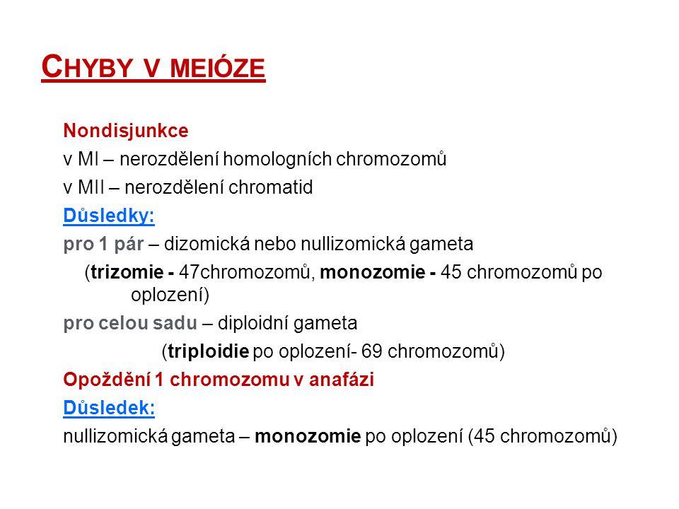 C HYBY V MEIÓZE Nondisjunkce v MI – nerozdělení homologních chromozomů v MII – nerozdělení chromatid Důsledky: pro 1 pár – dizomická nebo nullizomická