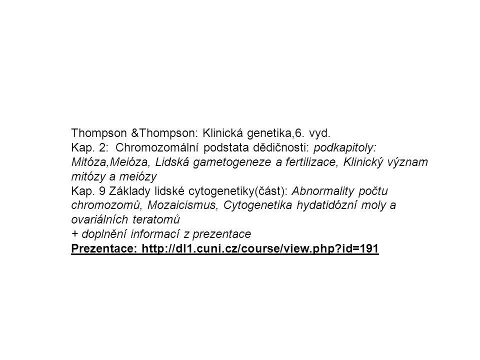 Thompson &Thompson: Klinická genetika,6. vyd. Kap. 2: Chromozomální podstata dědičnosti: podkapitoly: Mitóza,Meióza, Lidská gametogeneze a fertilizace