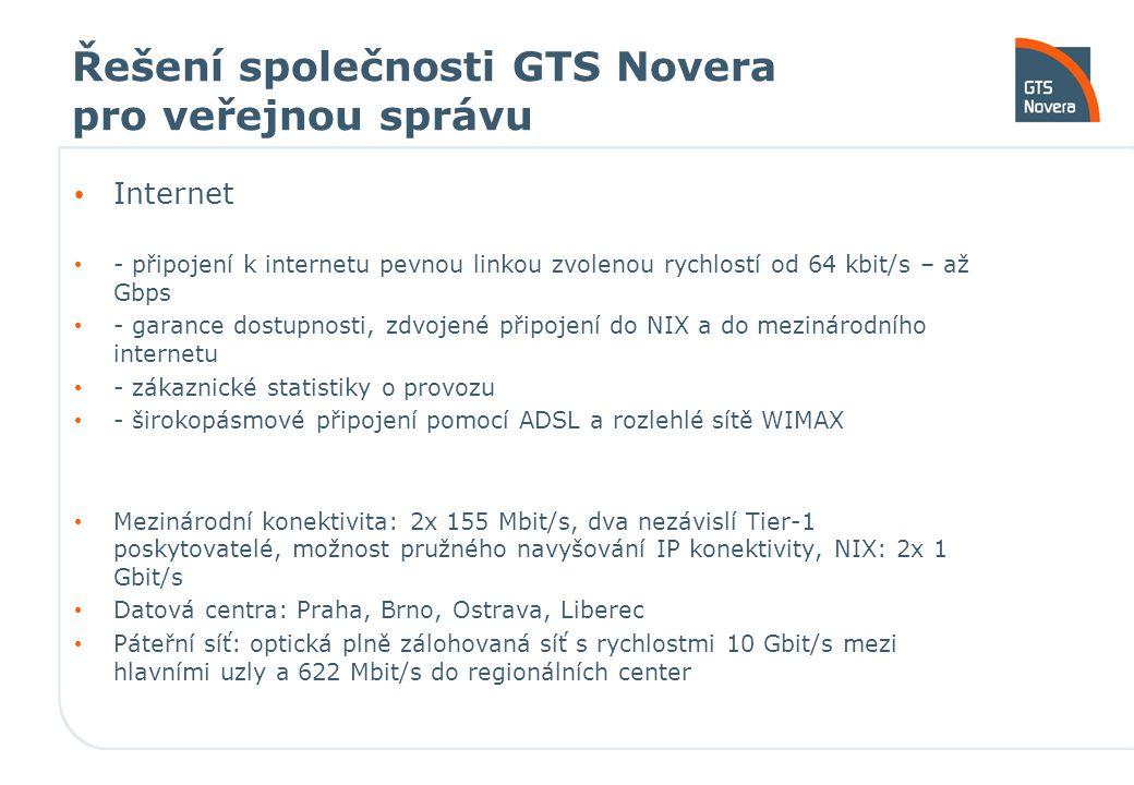 Řešení společnosti GTS Novera pro veřejnou správu Internet - připojení k internetu pevnou linkou zvolenou rychlostí od 64 kbit/s – až Gbps - garance d