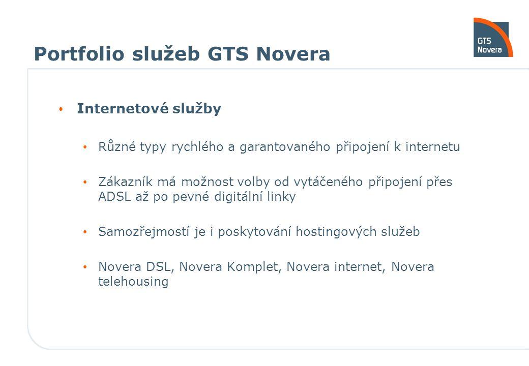 Portfolio služeb GTS Novera Internetové služby Různé typy rychlého a garantovaného připojení k internetu Zákazník má možnost volby od vytáčeného připo