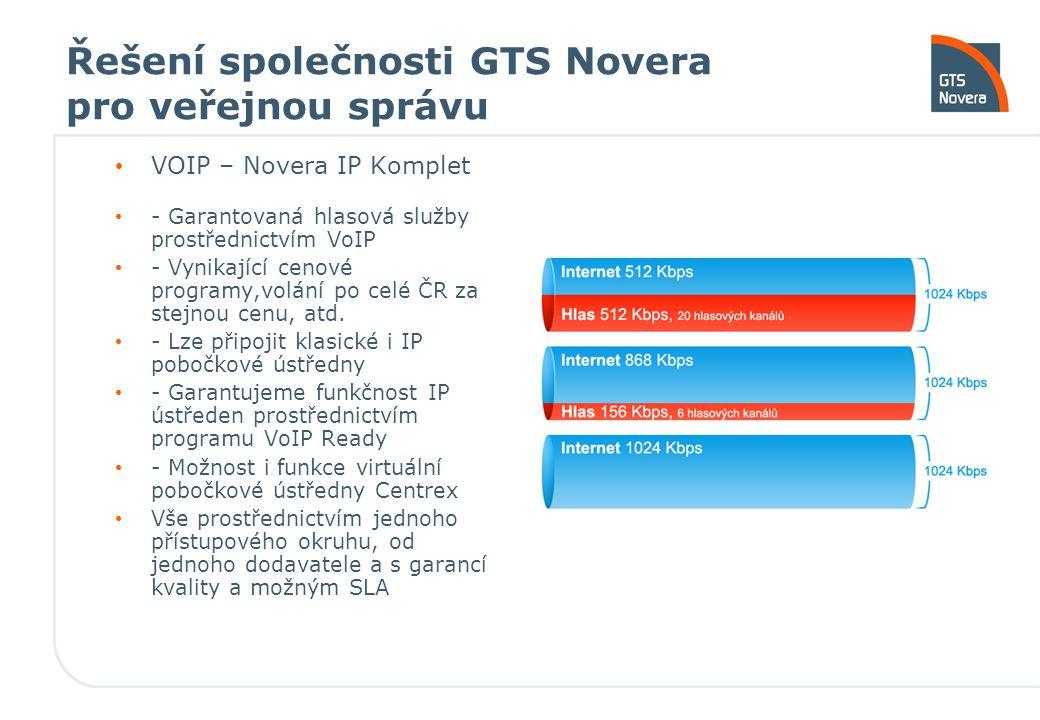 Řešení společnosti GTS Novera pro veřejnou správu VOIP – Novera IP Komplet - Garantovaná hlasová služby prostřednictvím VoIP - Vynikající cenové programy,volání po celé ČR za stejnou cenu, atd.