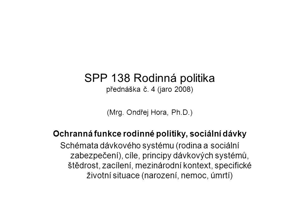 SPP 138 Rodinná politika přednáška č. 4 (jaro 2008) (Mrg. Ondřej Hora, Ph.D.) Ochranná funkce rodinné politiky, sociální dávky Schémata dávkového syst