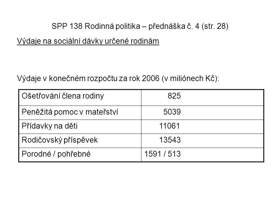 SPP 138 Rodinná politika – přednáška č. 4 (str. 28) Výdaje na sociální dávky určené rodinám Výdaje v konečném rozpočtu za rok 2006 (v miliónech Kč): O