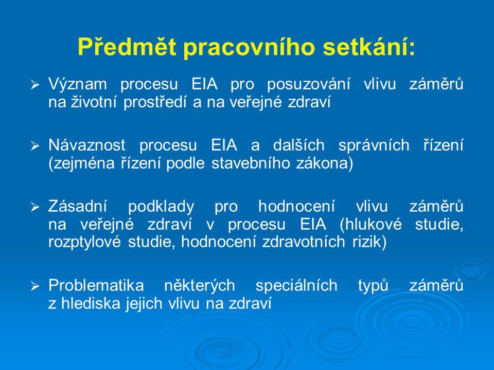 Předmět pracovního setkání:   Význam procesu EIA pro posuzování vlivu záměrů na životní prostředí a na veřejné zdraví   Návaznost procesu EIA a dalších správních řízení (zejména řízení podle stavebního zákona)   Zásadní podklady pro hodnocení vlivu záměrů na veřejné zdraví v procesu EIA (hlukové studie, rozptylové studie, hodnocení zdravotních rizik)   Problematika některých speciálních typů záměrů z hlediska jejich vlivu na zdraví