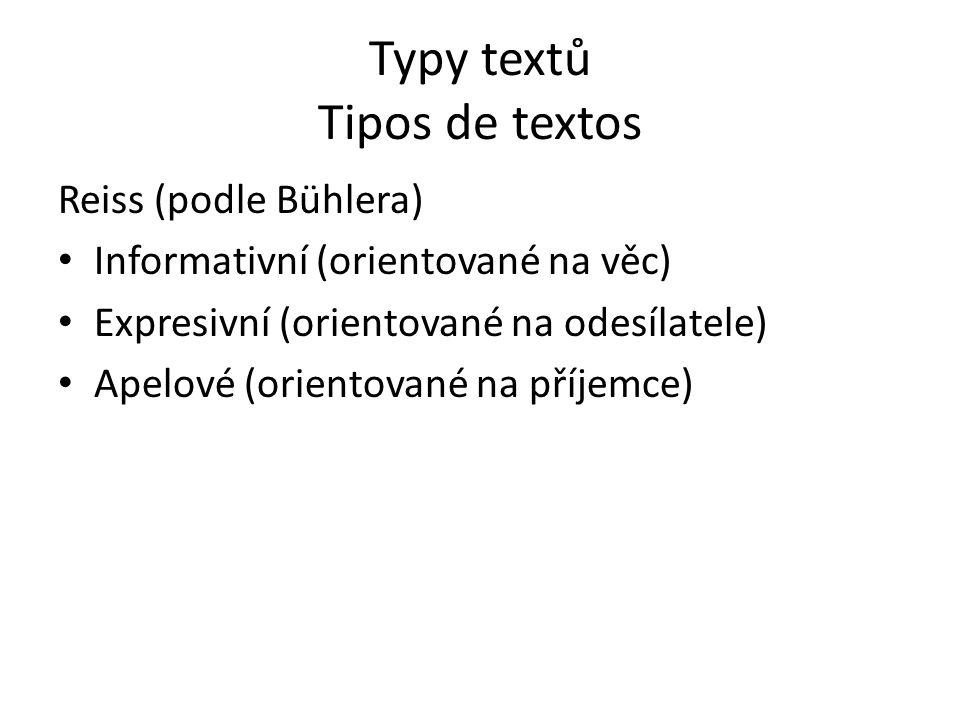 Typy textů Tipos de textos Reiss (podle Bühlera) Informativní (orientované na věc) Expresivní (orientované na odesílatele) Apelové (orientované na pří