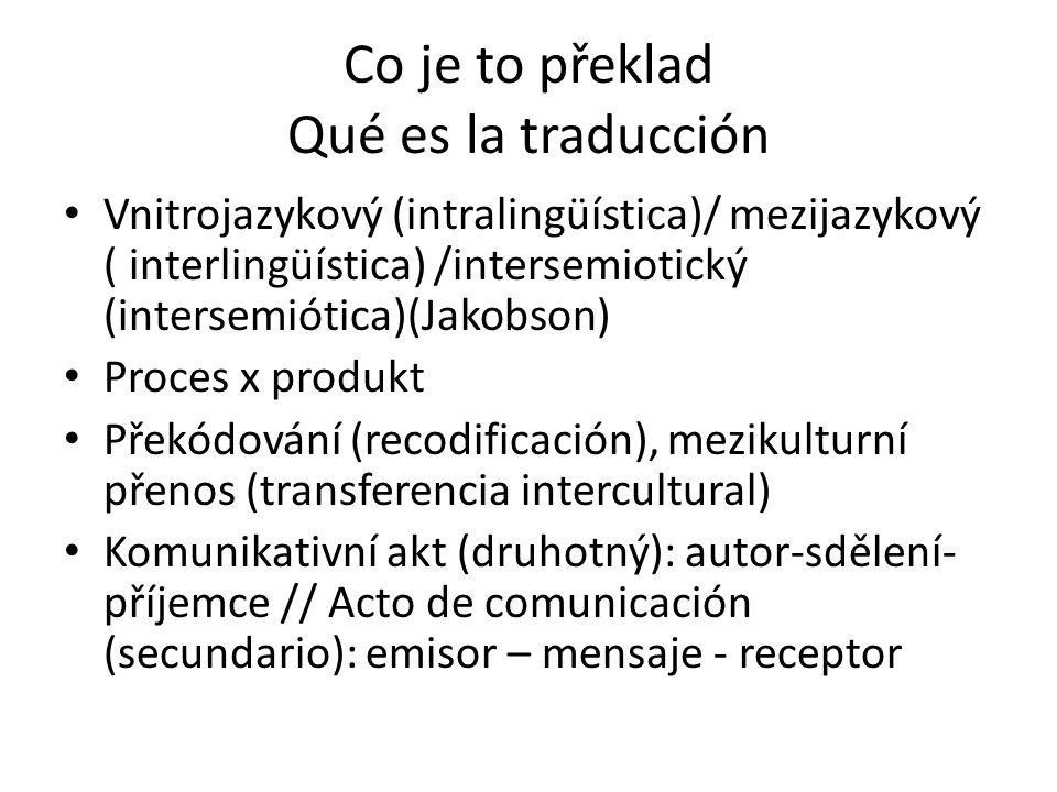 Co je to překlad Qué es la traducción Vnitrojazykový (intralingüística)/ mezijazykový ( interlingüística) /intersemiotický (intersemiótica)(Jakobson)