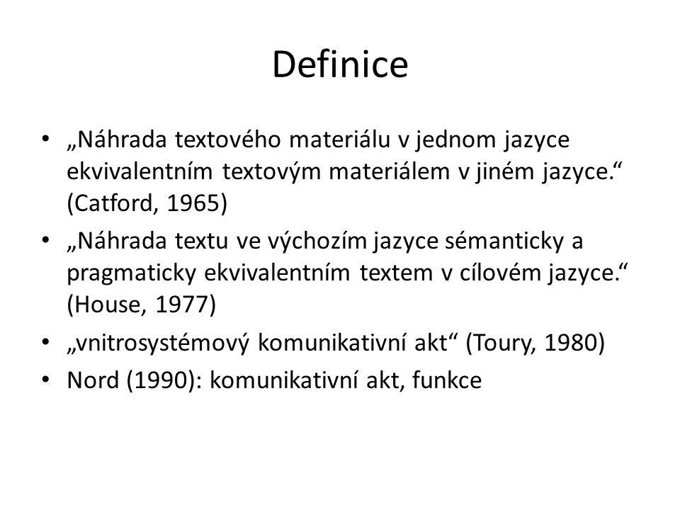 """Definice """"Náhrada textového materiálu v jednom jazyce ekvivalentním textovým materiálem v jiném jazyce."""" (Catford, 1965) """"Náhrada textu ve výchozím ja"""