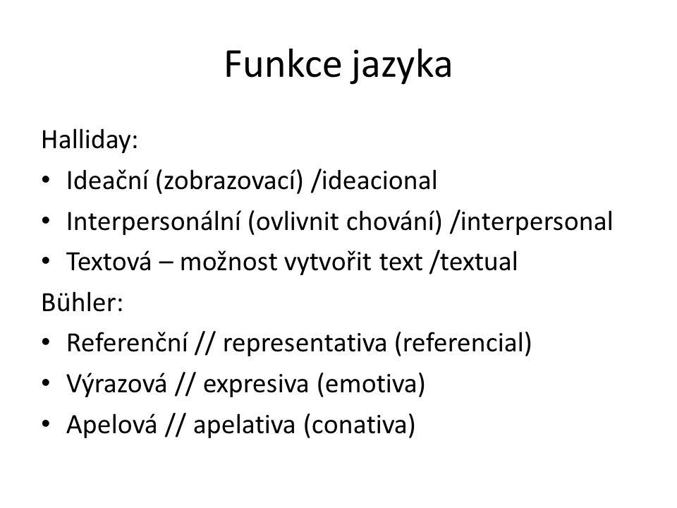 Funkce jazyka Halliday: Ideační (zobrazovací) /ideacional Interpersonální (ovlivnit chování) /interpersonal Textová – možnost vytvořit text /textual B