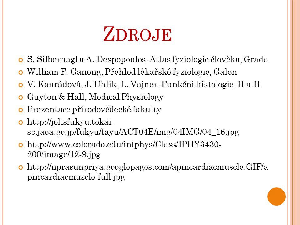 Z DROJE S. Silbernagl a A. Despopoulos, Atlas fyziologie člověka, Grada William F. Ganong, Přehled lékařské fyziologie, Galen V. Konrádová, J. Uhlík,