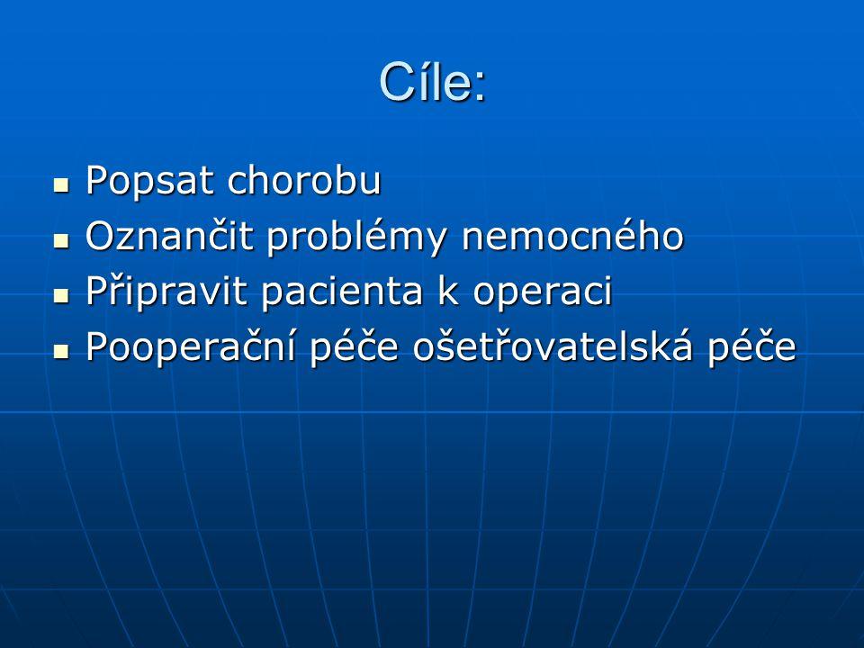 Cíle: Popsat chorobu Popsat chorobu Oznančit problémy nemocného Oznančit problémy nemocného Připravit pacienta k operaci Připravit pacienta k operaci Pooperační péče ošetřovatelská péče Pooperační péče ošetřovatelská péče