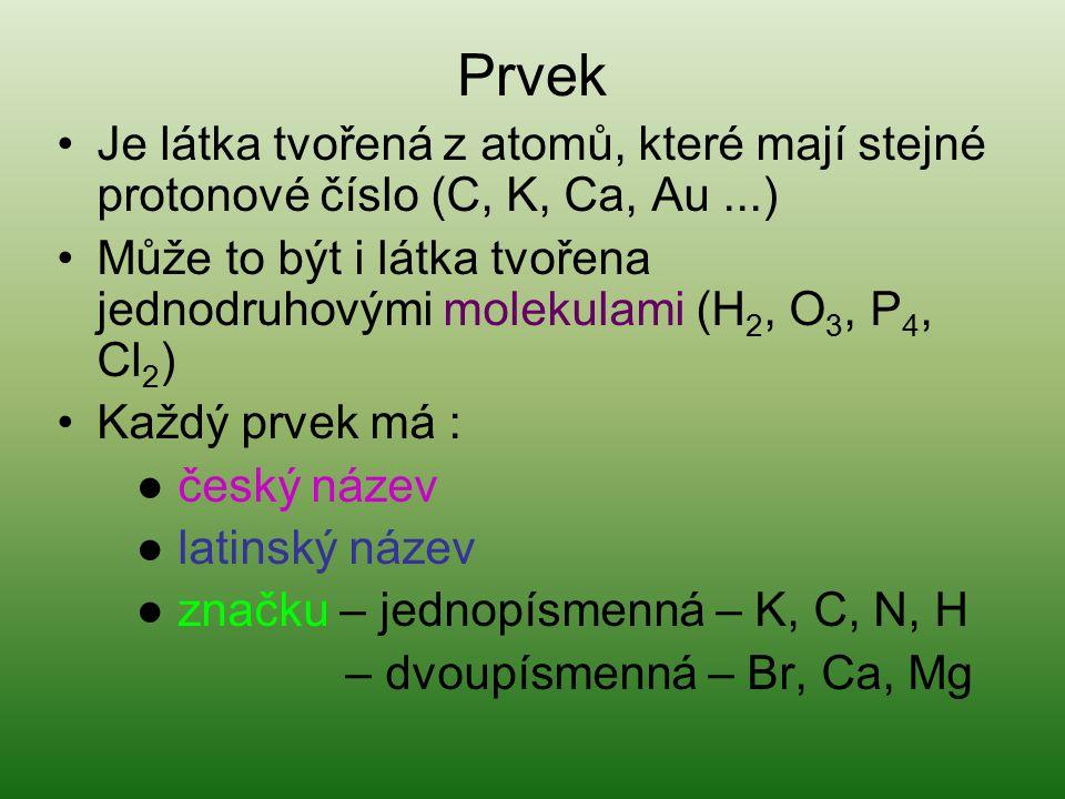 Prvek Je látka tvořená z atomů, které mají stejné protonové číslo (C, K, Ca, Au...) Může to být i látka tvořena jednodruhovými molekulami (H 2, O 3, P