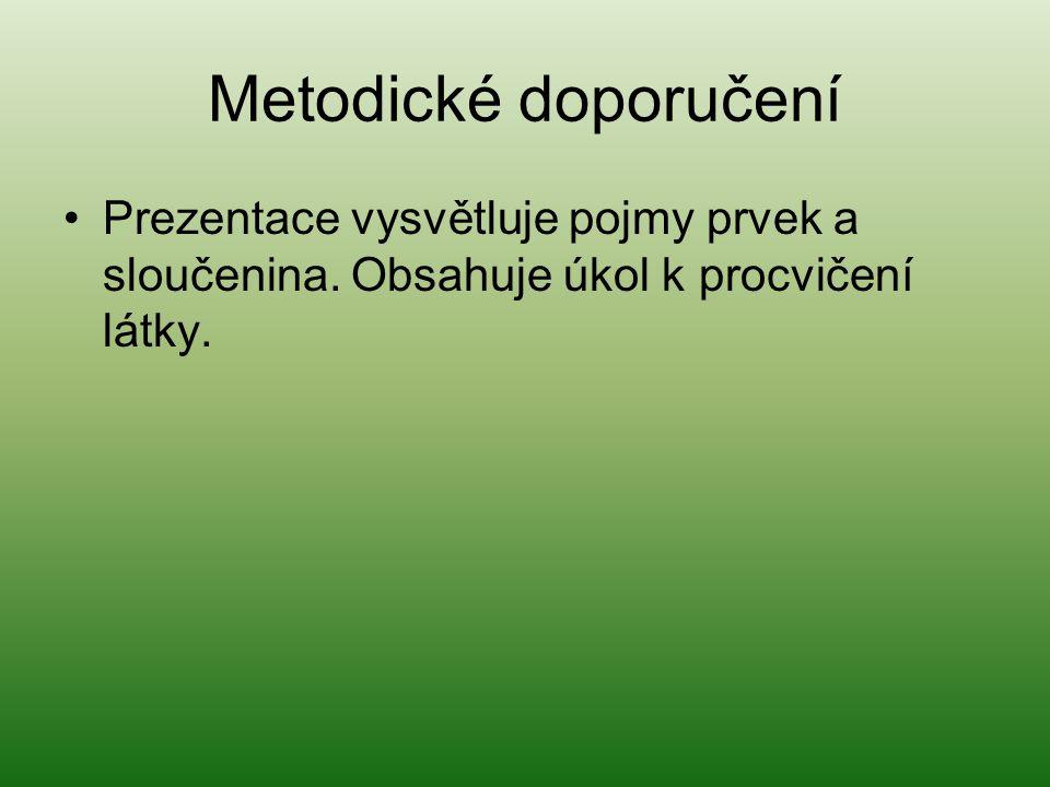 Metodické doporučení Prezentace vysvětluje pojmy prvek a sloučenina. Obsahuje úkol k procvičení látky.