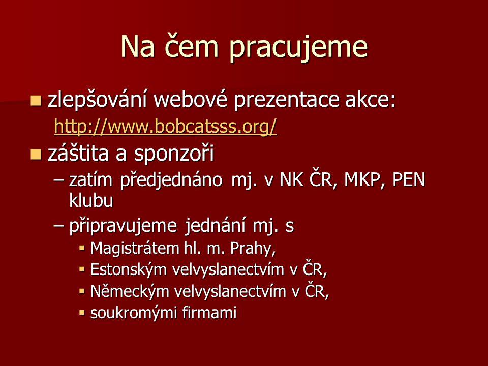 Na čem pracujeme zlepšování webové prezentace akce: zlepšování webové prezentace akce: http://www.bobcatsss.org/ záštita a sponzoři záštita a sponzoři –zatím předjednáno mj.