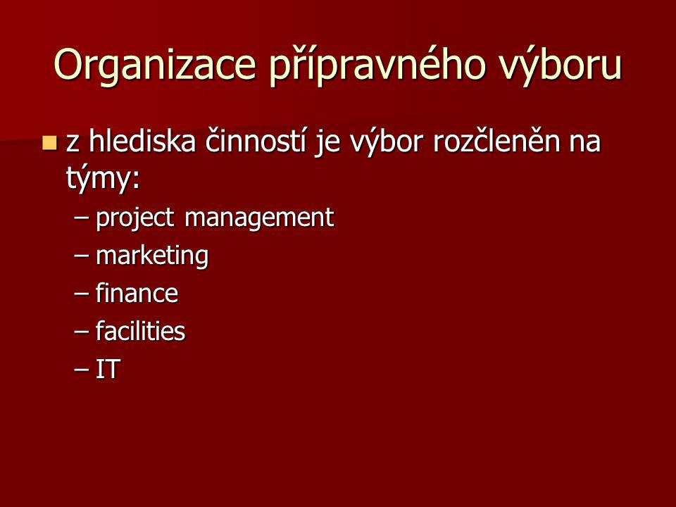 Organizace přípravného výboru z hlediska činností je výbor rozčleněn na týmy: z hlediska činností je výbor rozčleněn na týmy: –project management –marketing –finance –facilities –IT