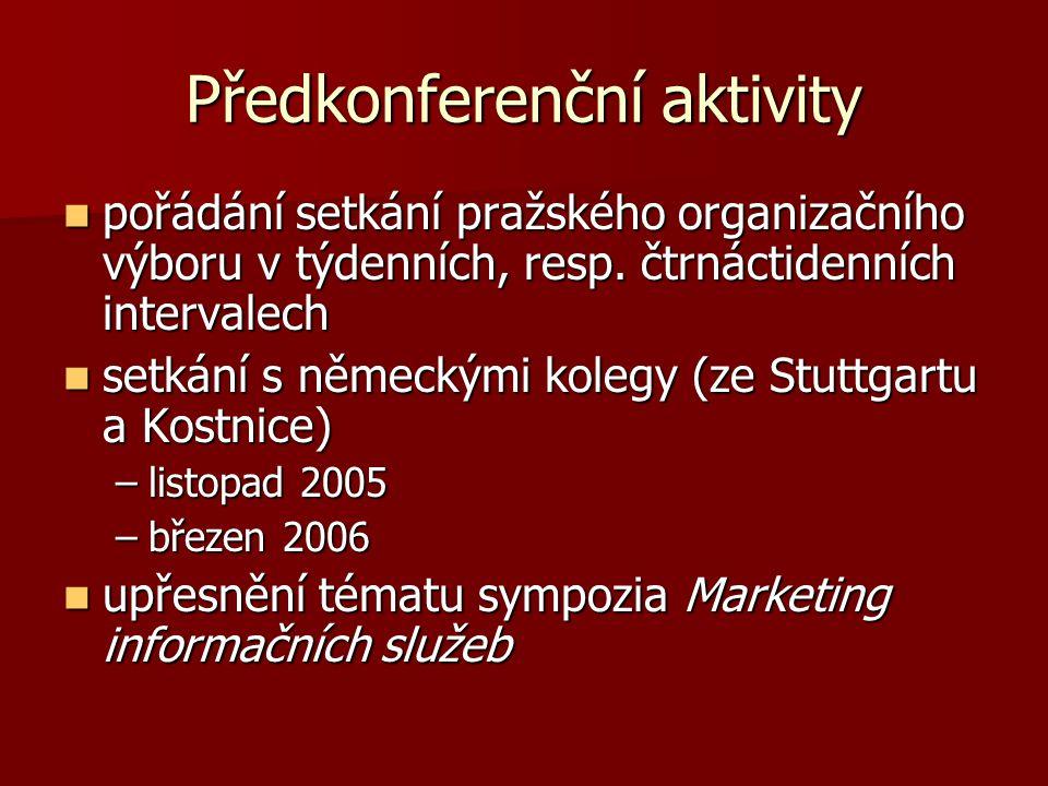 Předkonferenční aktivity pořádání setkání pražského organizačního výboru v týdenních, resp.
