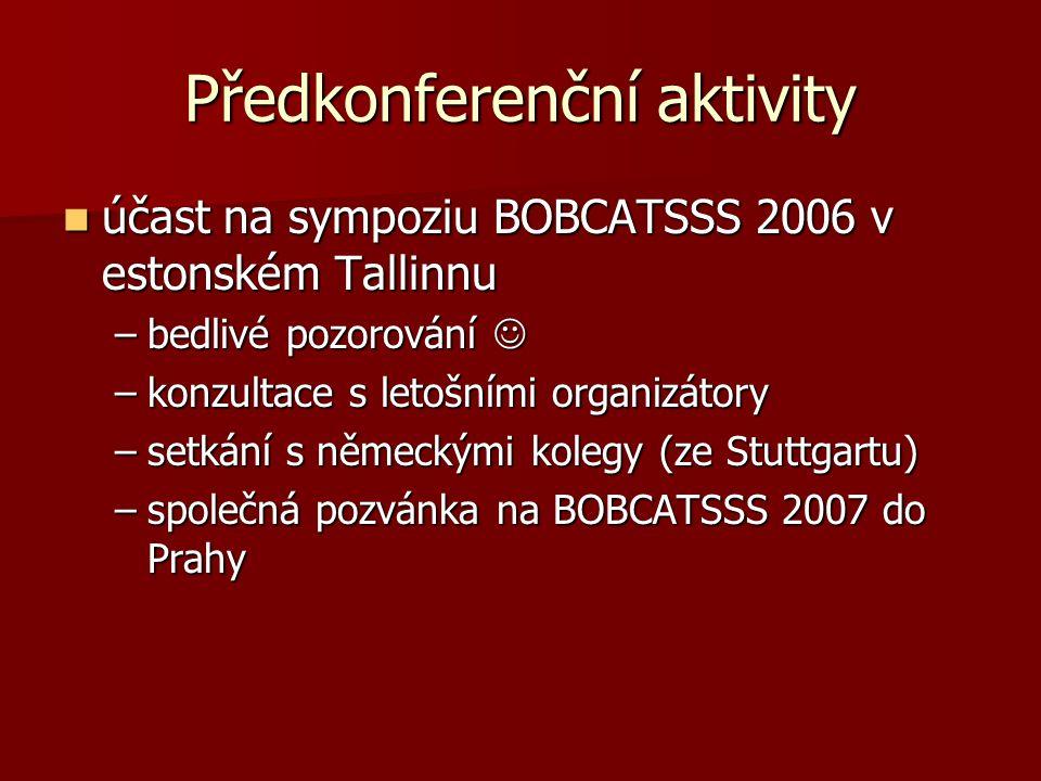 Předkonferenční aktivity účast na sympoziu BOBCATSSS 2006 v estonském Tallinnu účast na sympoziu BOBCATSSS 2006 v estonském Tallinnu –bedlivé pozorování –bedlivé pozorování –konzultace s letošními organizátory –setkání s německými kolegy (ze Stuttgartu) –společná pozvánka na BOBCATSSS 2007 do Prahy