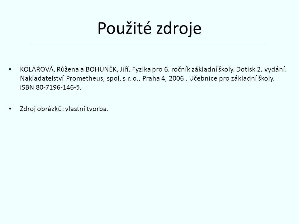 Použité zdroje KOLÁŘOVÁ, Růžena a BOHUNĚK, Jiří. Fyzika pro 6.
