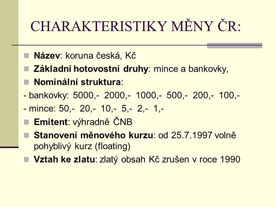 CHARAKTERISTIKY MĚNY ČR: Název: koruna česká, Kč Základní hotovostní druhy: mince a bankovky, Nominální struktura: - bankovky: 5000,- 2000,- 1000,- 500,- 200,- 100,- - mince: 50,- 20,- 10,- 5,- 2,- 1,- Emitent: výhradně ČNB Stanovení měnového kurzu: od 25.7.1997 volně pohyblivý kurz (floating) Vztah ke zlatu: zlatý obsah Kč zrušen v roce 1990