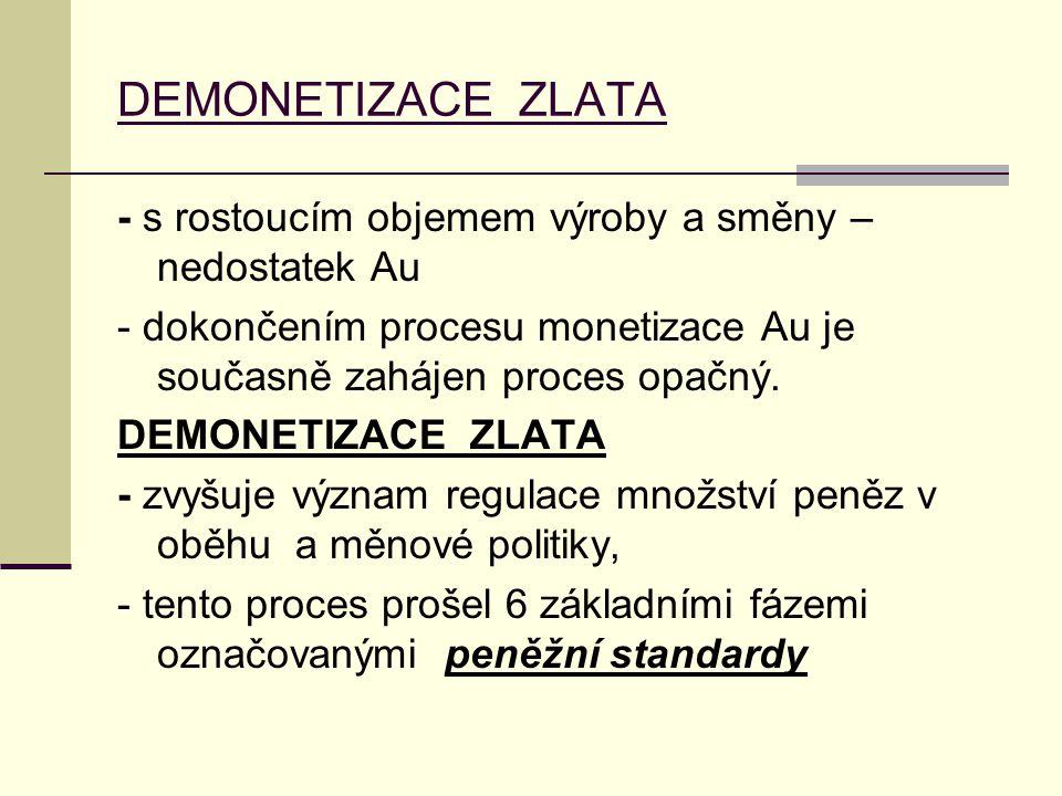 DEMONETIZACE ZLATA - s rostoucím objemem výroby a směny – nedostatek Au - dokončením procesu monetizace Au je současně zahájen proces opačný. DEMONETI