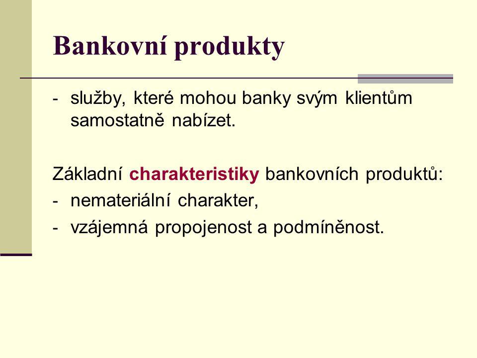 Bankovní produkty - služby, které mohou banky svým klientům samostatně nabízet. Základní charakteristiky bankovních produktů: - nemateriální charakter
