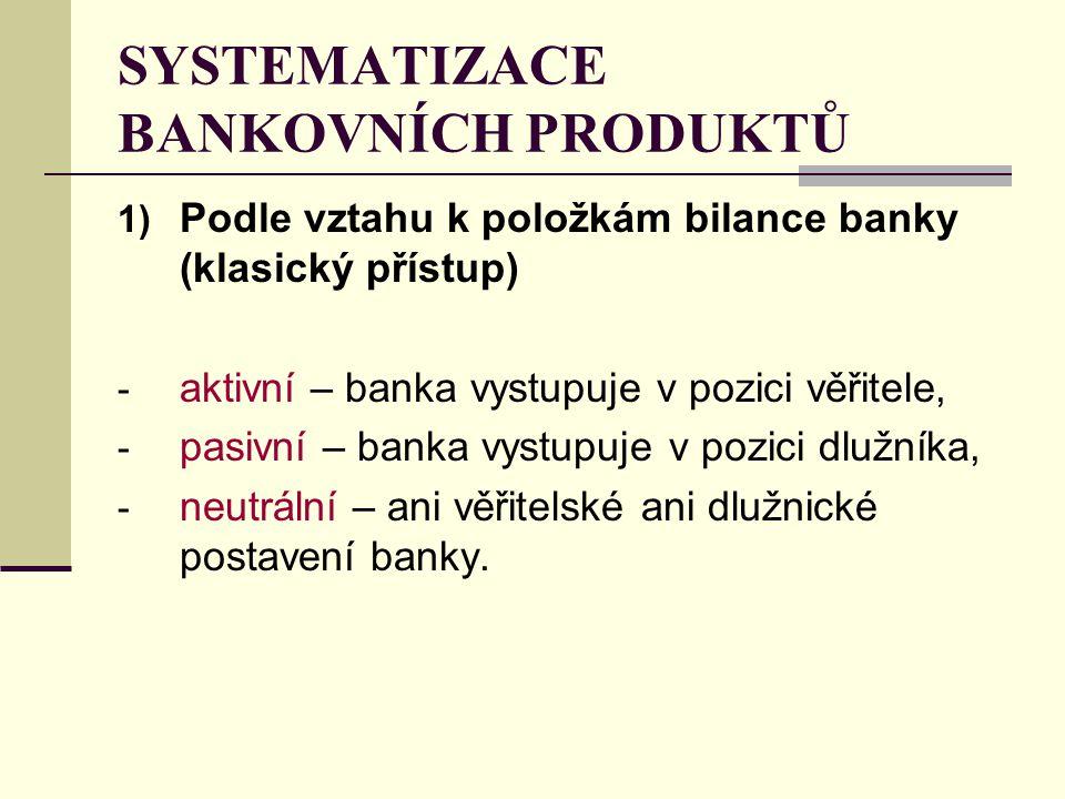 1) Podle vztahu k položkám bilance banky (klasický přístup) - aktivní – banka vystupuje v pozici věřitele, - pasivní – banka vystupuje v pozici dlužníka, - neutrální – ani věřitelské ani dlužnické postavení banky.