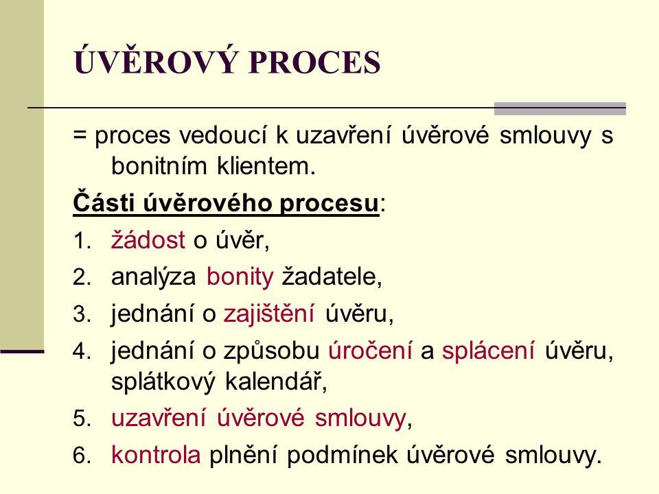 ÚVĚROVÝ PROCES = proces vedoucí k uzavření úvěrové smlouvy s bonitním klientem. Části úvěrového procesu: 1. žádost o úvěr, 2. analýza bonity žadatele,