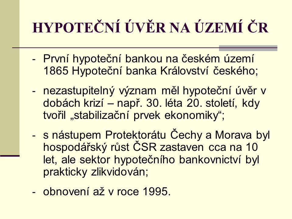 HYPOTEČNÍ ÚVĚR NA ÚZEMÍ ČR - První hypoteční bankou na českém území 1865 Hypoteční banka Království českého; - nezastupitelný význam měl hypoteční úvěr v dobách krizí – např.