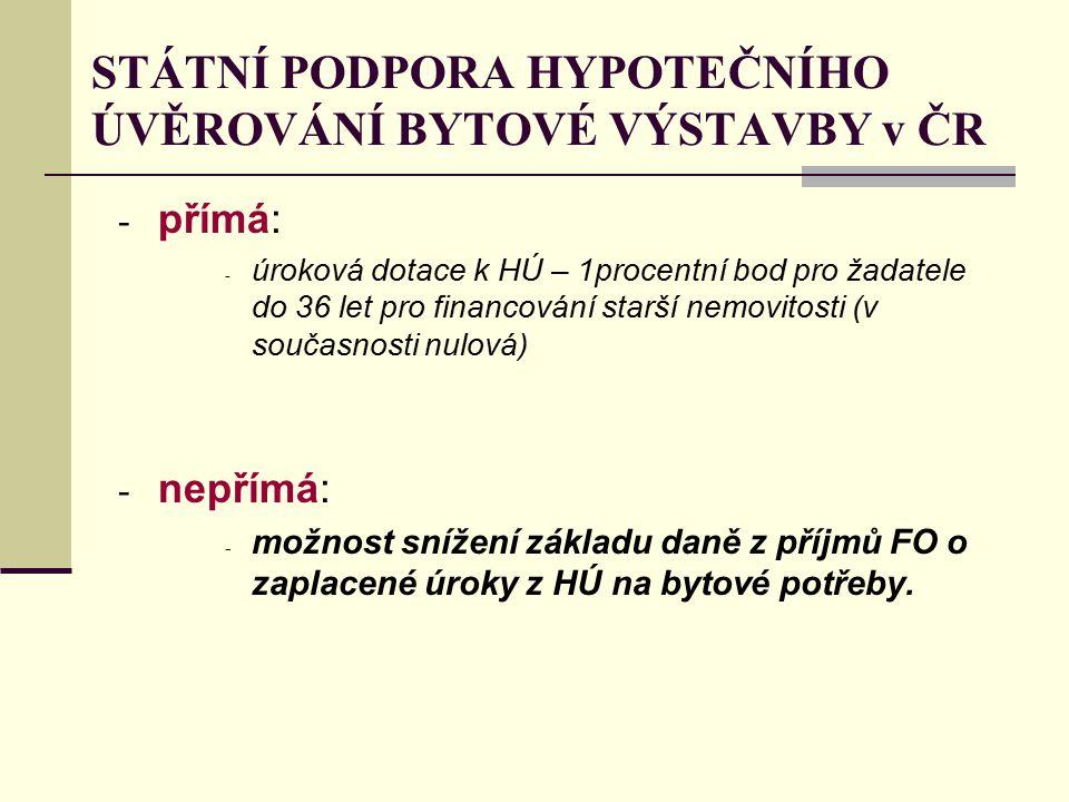 STÁTNÍ PODPORA HYPOTEČNÍHO ÚVĚROVÁNÍ BYTOVÉ VÝSTAVBY v ČR - přímá: - úroková dotace k HÚ – 1procentní bod pro žadatele do 36 let pro financování starš